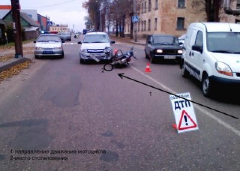Водитель мотоцикла в Рославле пострадал в ДТП