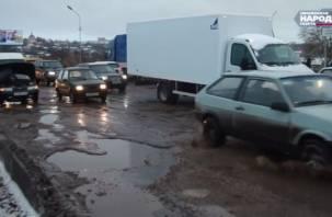 Смоленские водители в шоке от ухабов на Крестовоздвиженской развязке