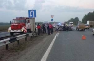 Человек сгорел в собственном авто.  Смертельное ДТП в Рославльском районе