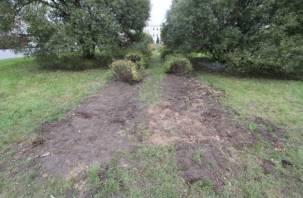 Смоленские власти приступили к ликвидации газона на Колхозной площади
