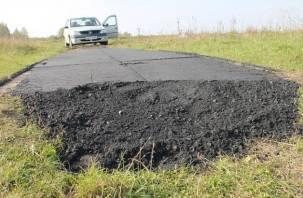 В Смоленской области дорожники заасфальтировали поле