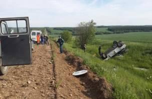 В Смоленской области в ДТП опрокинулась «девятка»