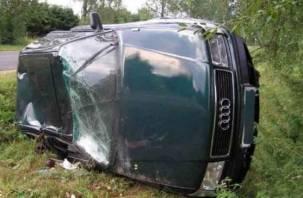 В Смоленской области два автомобиля съехали в кювет