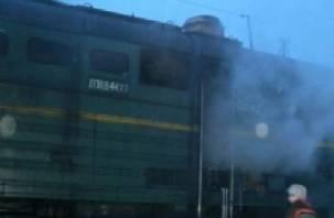 На смоленской железной дороге загорелся тепловоз
