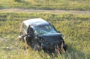Смоленский водитель на скорости съехал в кювет и перевернулся