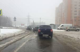 Смоленские дороги покрылись обледенелыми кочками и снежной кашей