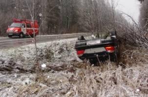 В Демидовском районе автомобиль вылетел в кювет. Есть пострадавший