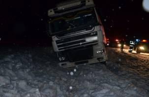 В Смоленской области столкнулись фура и микроавтобус. Есть пострадавший