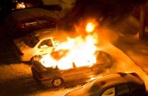 В Десногорске на стоянке горел Mercedes-Benz