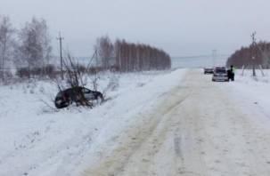 Под Смоленском водитель «Калины» с пассажирами улетел в кювет