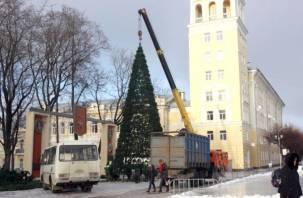 ФОТО. На площади Ленина в Смоленске устанавливают новогоднюю елку