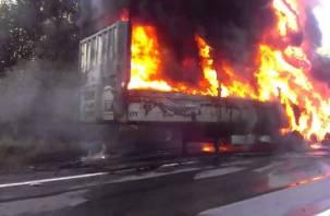 В Чувашии дотла сгорела фура, ехавшая в Смоленск