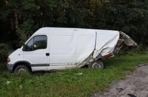 В Смоленском районе водитель грузовика снес микроавтобус