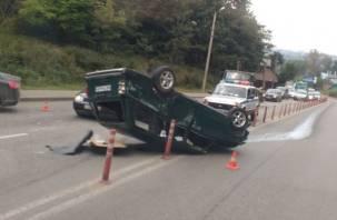 Жесткое ДТП в Смоленске: авто перевернулось на крышу