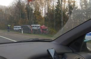 На трассе М-1 в кювет съехал автовоз с тремя микроавтобусами