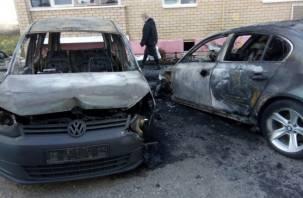 Под Смоленском дотла сгорели две иномарки