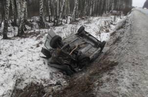 Смоленские сотрудники МЧС спасали водителя из перевернутого авто