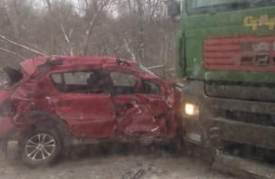 Смоленская автоледи врезалась в фуру: появилось видео последствий аварии на Таборной горе