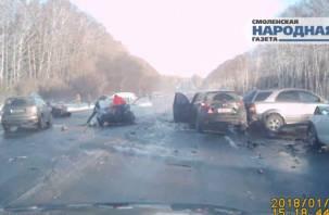 Как все начиналось: видеохроника массового ДТП на трассе Москва-Минск под Смоленском