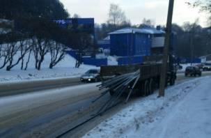 «То дождь, то снег, то трубы летают» : в Смоленске дорогу усыпало металлическими трубами