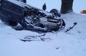 На трассе М-1 в Смоленской области иномарка вылетела в кювет