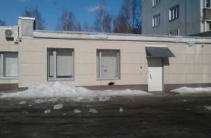 В Смоленске с крыши банка рухнула ледяная глыба