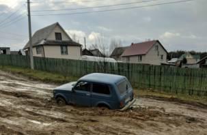 В Быльниках под Смоленском грязь поглотила автомобиль