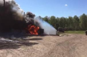 Крупный пожар на смоленской трассе М1: сгорели более десяти транспортных средств