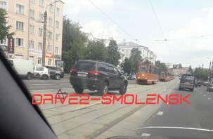 В Смоленске авария собрала пробку из трамваев