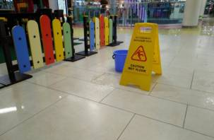 «Осторожно, мокрый пол»: крыша смоленского торгового центра снова не выдержала ливней