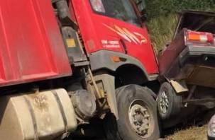 Жесткая авария под Смоленском: легковушку сплющил грузовик
