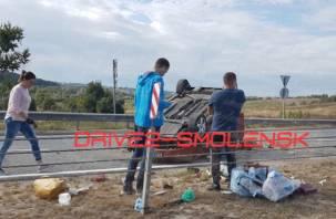 Под Смоленском машина опрокинулась на крышу