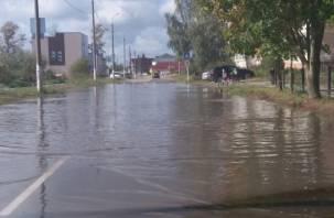 Огромная лужа затопила одну из дорог в Дорогобуже