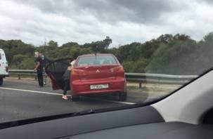 Под Смоленском иномарка врезалась в дорожный отбойник и отлетела в бензовоз