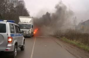 В Смоленской области на трассе сгорела фура