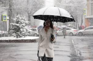 Во вторник смолян ожидает мокрый снег и гололедица на дорогах