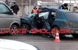 Появилось видео последствий страшного ДТП в Смоленске
