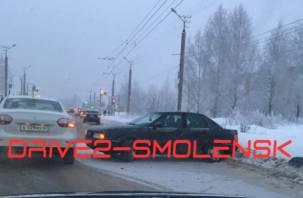 В Смоленске на Краснинском шоссе из-за ДТП пробка