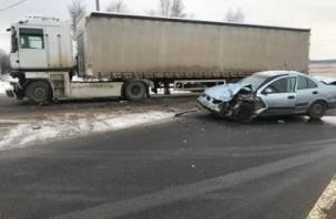 В Смоленском районе девушка на иномарке влетела под фуру и оказалась в больнице