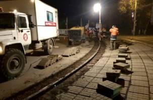 В Смоленске снимут плитку на трамвайных путях