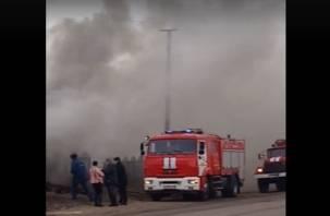 Пожар в Рославле попал на видео