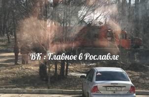 Пожар мусоровоза. В Рославле задымился мусор