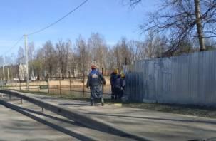 В Смоленске Соловьиную рощу обнажают от строительного забора