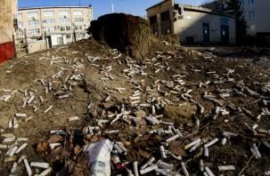 Сошедший снег в Смоленске обнажил «кладбище» окурков