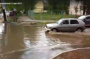 Смоленск- вторая Венеция. Потоп на Ново-Московской попал на видео