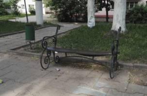 Смоленские подростки разгромили скамейку в парке
