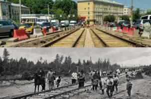 По технологии прадедов: как в Смоленске укладывают трамвайные пути на проспекте Гагарина