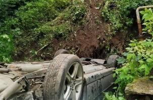 Смоленская автоледи «улетела» на Лексусе в кювет. В Сети появились фото утренней аварии