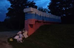 В Смоленской области неизвестные завалили стелу мусором
