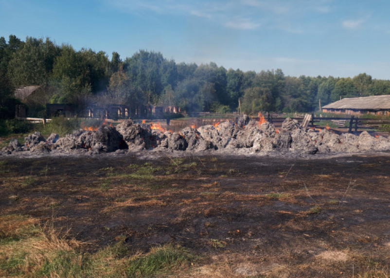 В Монастырщинском районе сгорело сено в рулонах